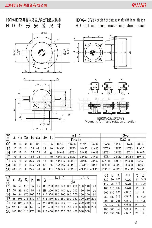 hd换向器的外形安装尺寸-hd螺旋锥齿换向器-磊诺传动